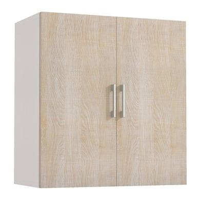 Armadio in kit in legno L 60 x P 32 x H 66 cm bianco anta rovere