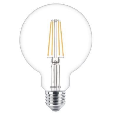 Lampadina LED filamento E27, Globo, Trasparente, Bianco caldo, 7W=806LM (equiv 60 W), 270° , PHILIPS