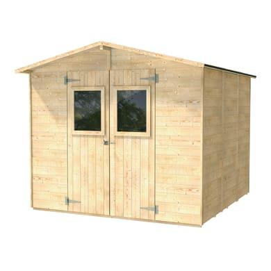 Casetta da giardino in legno REGINA dim: 238X245 cm,  superficie interna 5.33 m² e spessore parete 16 mm