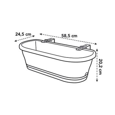 Cassetta portafiori corsica easy balcony ELHO in polipropilene colore anthracite H 19 cm, L 57.5 x P 57.5 cm