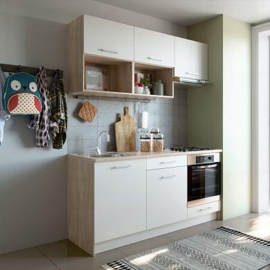 Cucina in kit  One bianco e rovere L 180 cm