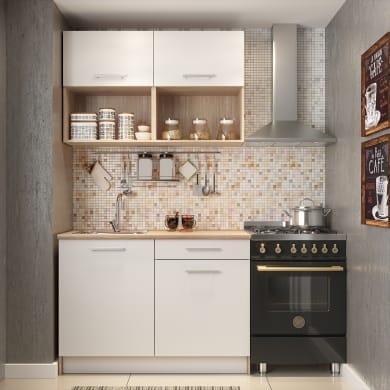 Cucina in kit  One bianco e rovere L 120 cm