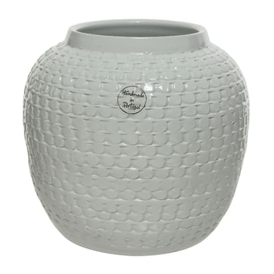 Vaso KAEMINGK in terracotta colore bianco H 22 cm, Ø 22 cm