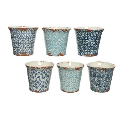 Fioriera KAEMINGK in ceramica colore blu H 14 cm, Ø 14.5 cm