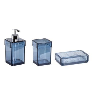 Set di accessori per bagno Serie 25 blu in plastica