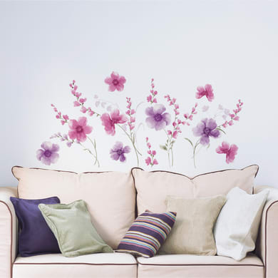 Sticker Sticker XL Purple Flowers 67x94 cm