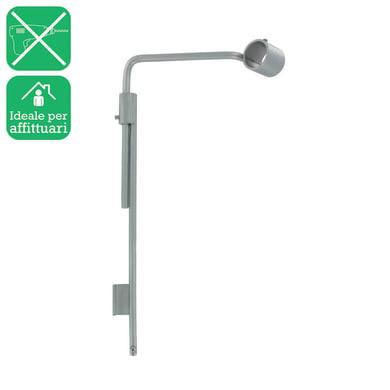 Supporto estensibile singolo chiuso Ø20mm Nilo in acciaio cromo spazzolato, 2 pezzi