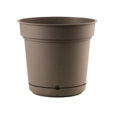 Vaso in plastica colore tortora H 21 cm, Ø 23 cm
