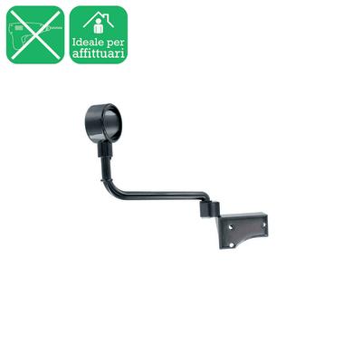 Supporto singolo chiuso Ø28mm Loira in acciaio nero nickelato lucido17 cm