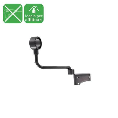 Supporto singolo chiuso Ø20mm Platinum in acciaio nero nickelato lucido16 cm