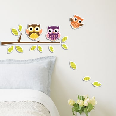 Sticker Foam S Owls 15x31 cm