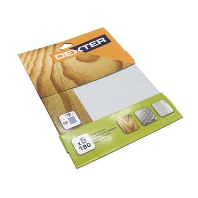 Carta abrasiva DEXTER SP180 per legno / vernice grana 180, 5 pezzi