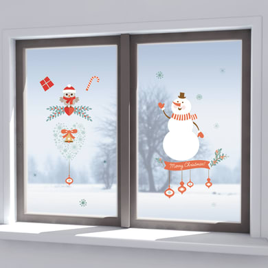 Sticker Snowman & owl 22.5x67 cm