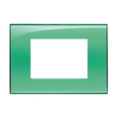 Placca BTICINO Living light 3 moduli verde