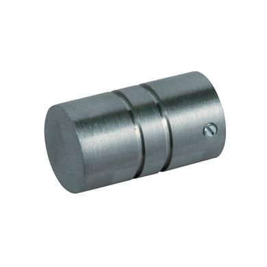 Finale per bastone Time cilindro in metallo Ø20mm acciaio satinato Set di 2 pezzi