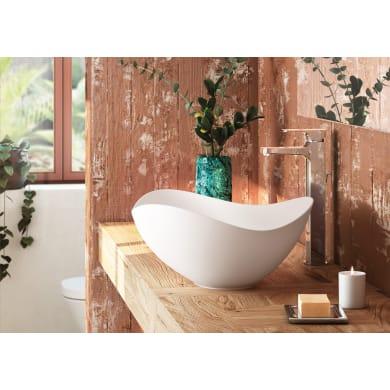 Lavabo da appoggio irregolare Ruy Ohtake in porcellana L 54 x H 18.5 cm bianco