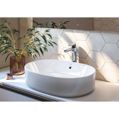 Lavabo da appoggio ovale Domus in porcellana L 55 x H 13 cm bianco