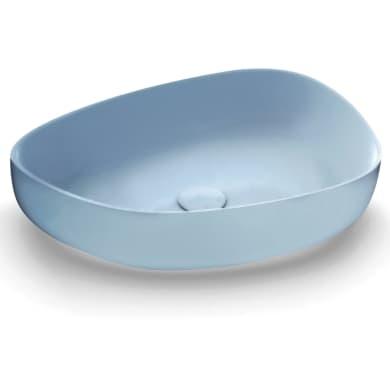 Lavabo da appoggio irregolare in ceramica blu