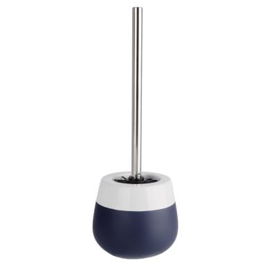 Porta scopino wc da appoggio Malta in ceramica blu scuro-bianco