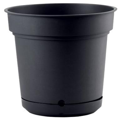 Vaso in plastica colore antracite H 30 cm, Ø 33 cm