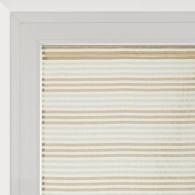 Tendina vetro Righe Orizzontali bianco e beige tunnel 60 x 160 cm