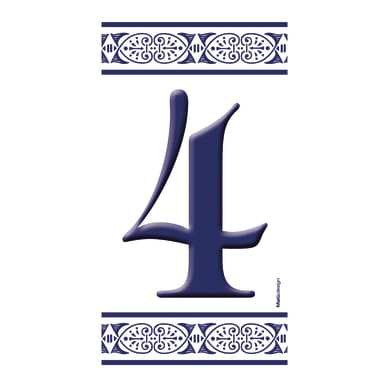 Numero civico Greca blu 4 , 7.5 x 15 cm