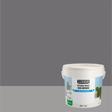 Pittura decorativa LUXENS PITTURA OPACA ECO-DESIGN 2.5 l grigio roccia tinta unita