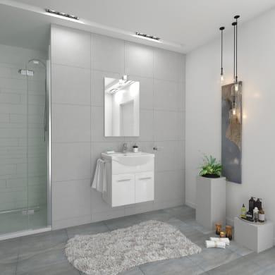 Mobile bagno Ginevra bianco lucido L 56.5 cm