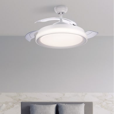 Ventilatore da soffitto LED integrato Atlas pale a scomparsa, bianco , con telecomando PHILIPS