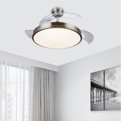 Ventilatore da soffitto LED integrato Atlas pale a scomparsa, nichel , con telecomando PHILIPS