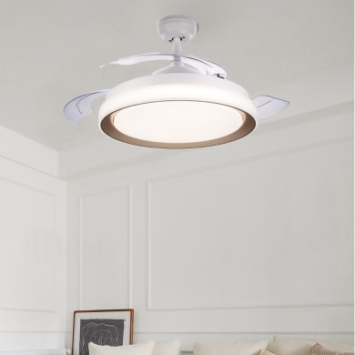 Ventilatore da soffitto LED integrato Atlas pale a scomparsa, oro , con telecomando PHILIPS