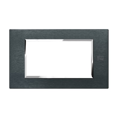 Placca Nea Expì SIMON URMET 4 moduli alluminio karbon