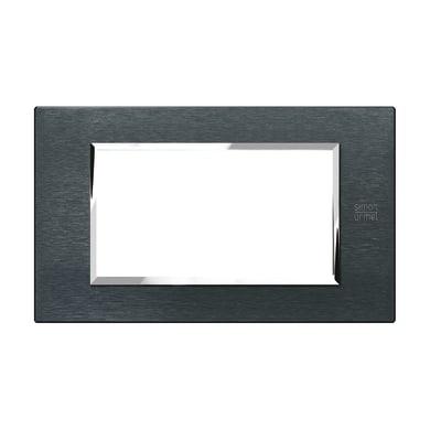 Placca SIMON URMET Nea Expì 4 moduli alluminio karbon