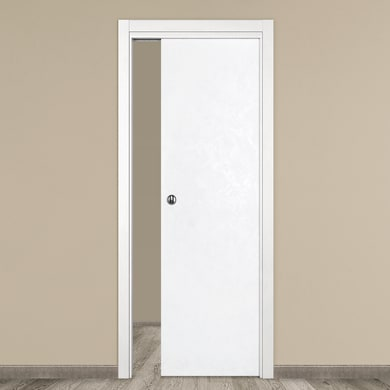 Porta scorrevole a scomparsa Side bianco L 90 x H 210 cm reversibile