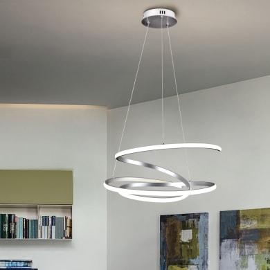 Lampadario Moderno KILEY LED integrato silver, in alluminio, L. 54 cm