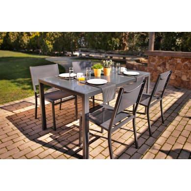 Tavolo da giardino rettangolare con piano in metallo L 90 x P 150 cm
