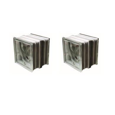 Vetromattone incolore e trasparente ondulato Termo acustico H 19 x L 19 x Sp 16 cm 2 pezzi