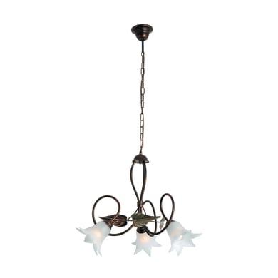 Lampadario Rustico Mirella eco bianco in metallo, D. 53 cm, L. 53 cm, 3 luci, NOVECENTO