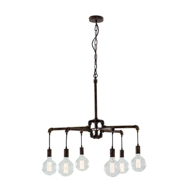 Lampadario Industriale Amarcord ruggine in metallo, D. 72 cm, L. 147 cm, 6 luci, FAN EUROPE