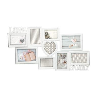 Cornice Love & family shabby per 9 fotografie 10 x 15  bianco