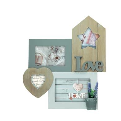 Cornice Love home shabby per 4 fotografie 10 x 15  bianco