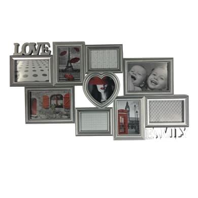 Cornice Love & family per 9 fotografie 13 x 18 argento