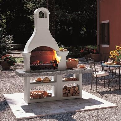 Barbecue in cemento refrattario PALAZZETTI Lanzarote con focolare laterale L 78 x P 78 x H 229 cm