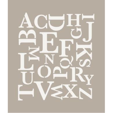 Stencil tema lettere, parole e numeri Alfabeto moderno 35 x 40 cm