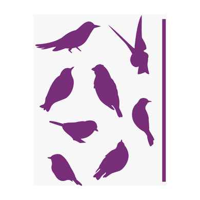 Stencil tema animali e personaggi LES DECORATIVES Uccellini 38 x 0.1 cm