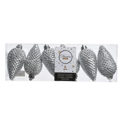 Set 6 pigne in plastica argento Ø 4.5 cm