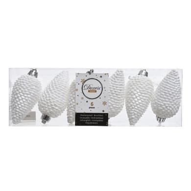 Set 6 pigne in plastica bianche Ø 4.5 cm