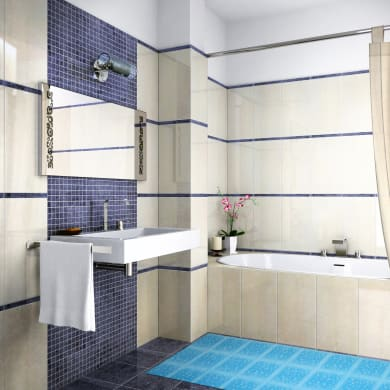 Tappeto per lavello pvc espanso azzurro L 65 x H 33 cm
