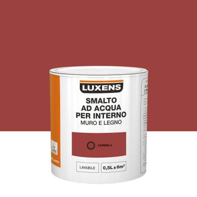 Smalto LUXENS Bimano base acqua rosso carmen 3 lucido 0.5 L