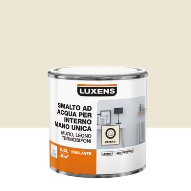 Smalto LUXENS Manounica base acqua bianco paper 2 lucido 0.5 L